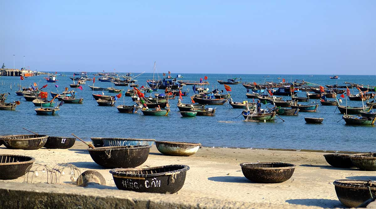 Man Thai vissersdorp bij Da Nang