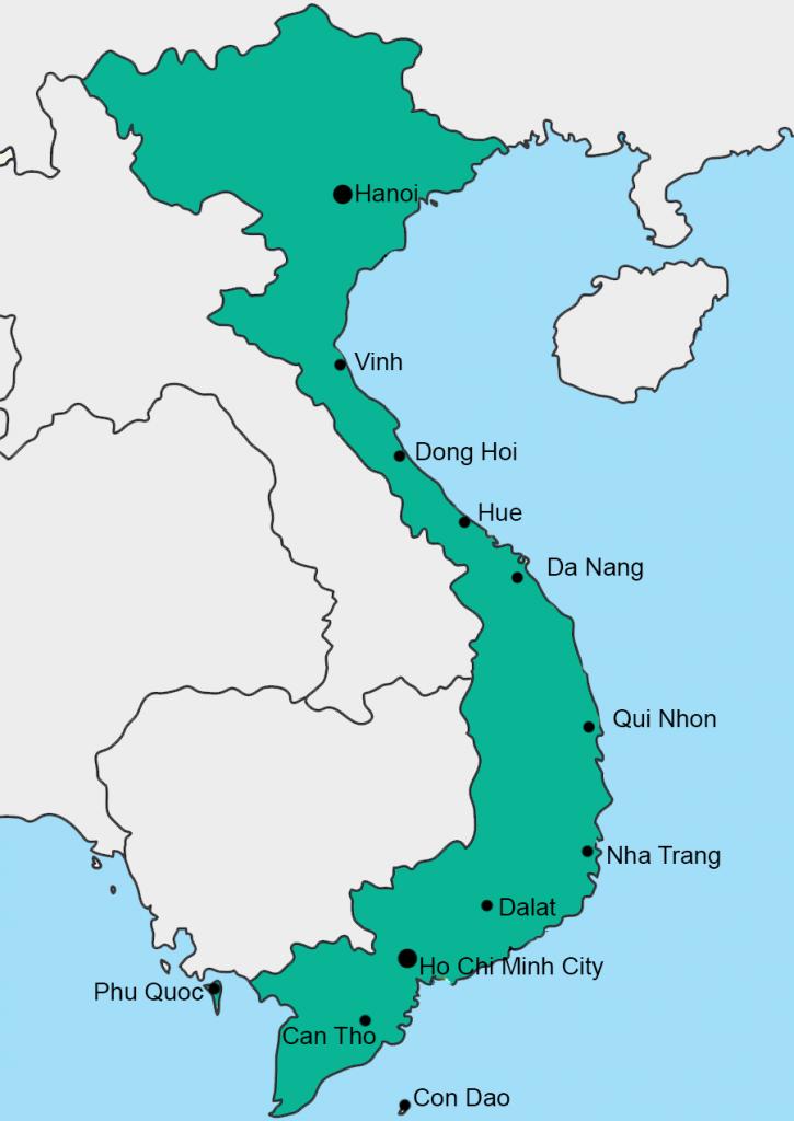 Kaart Vietnam vliegvelden