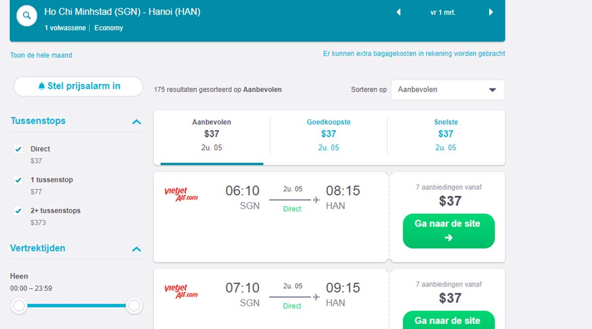 Skyscanner vliegticket Ho Chi Minh City naar Hanoi