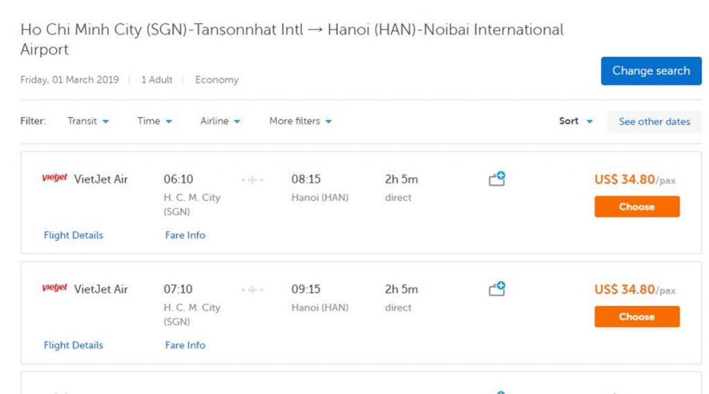 Traveloka vliegticket Ho Chi Minh City naar Hanoi