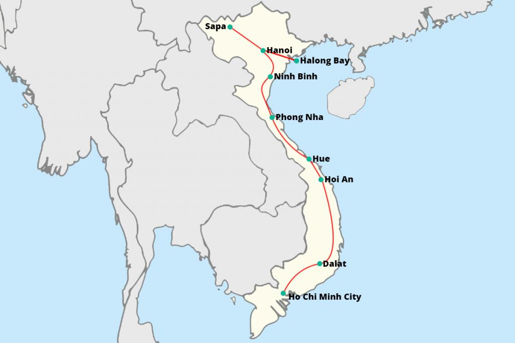 kaart rondreis Vietnam 3 weken