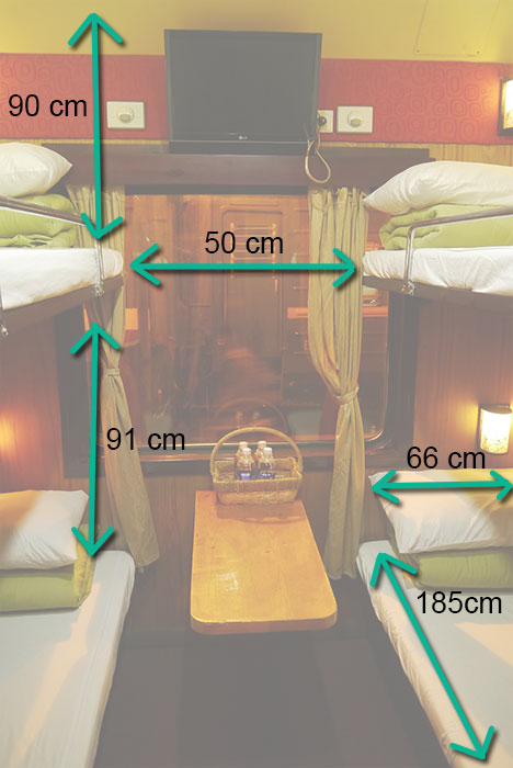 soft sleeper trein in Vietnam