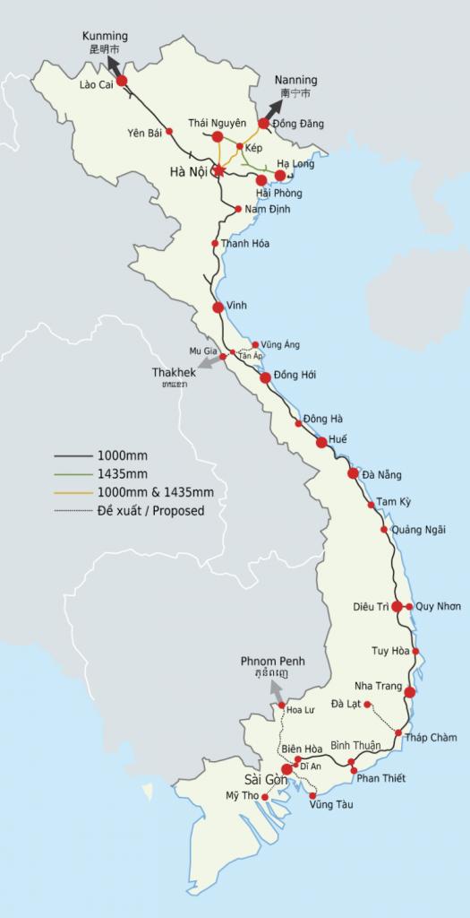 Vietnam trein kaart