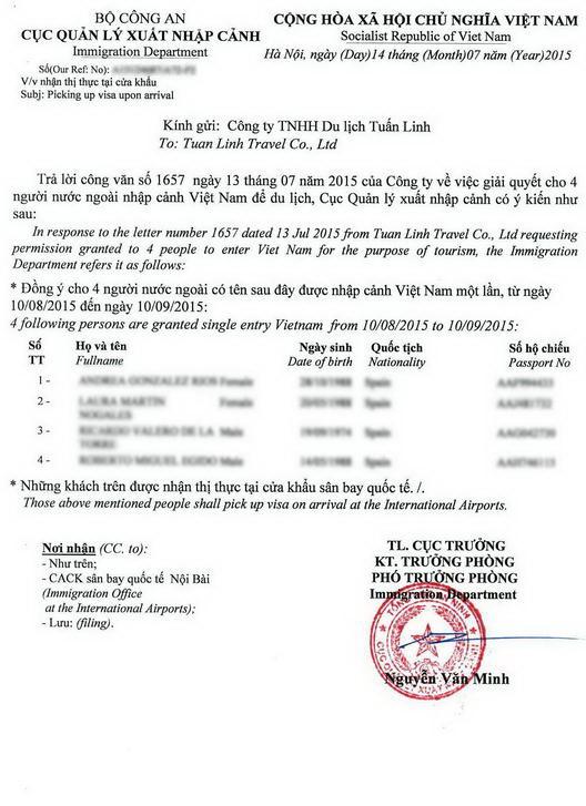 visum autorisatiebrief Vietnam