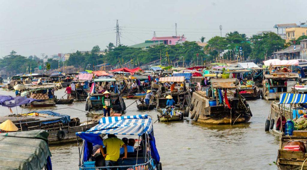 Cai Rang Floating Market in de Mekong Delta