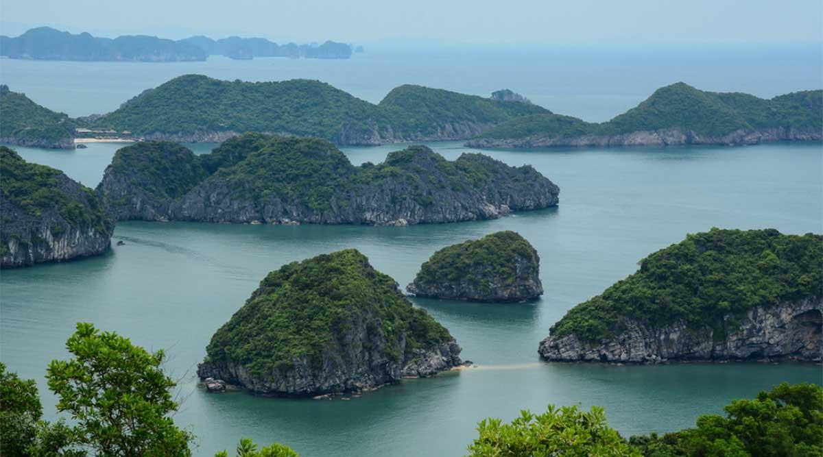 Cat Ba viewpoint over Halong Bay