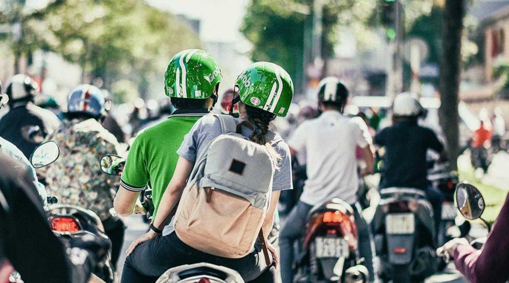 Grab motor taxi in Vietnam