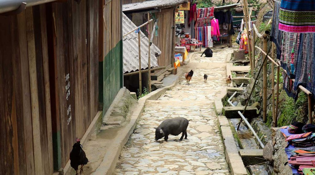straat van Cat Cat village in Sapa