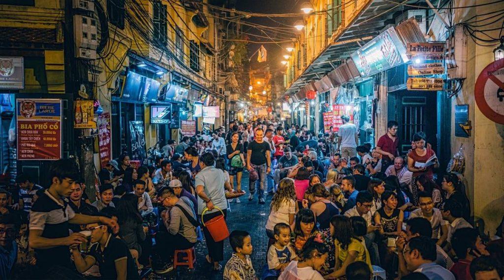 Bia Hoi straat in Hanoi