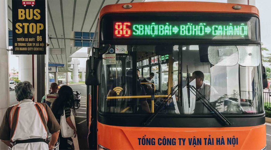 bus van vliegveld naar Hanoi centrum
