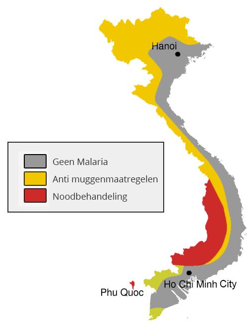 Malaria kaart Vietnam