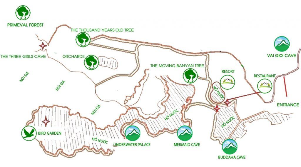Kaart van Thung Nham Bird Garden