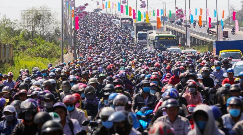 verkeer tijdens Vietnamees Tet nieuwjaar
