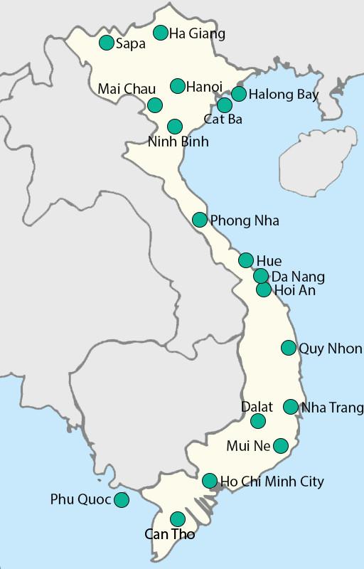 kaart steden Vietnam