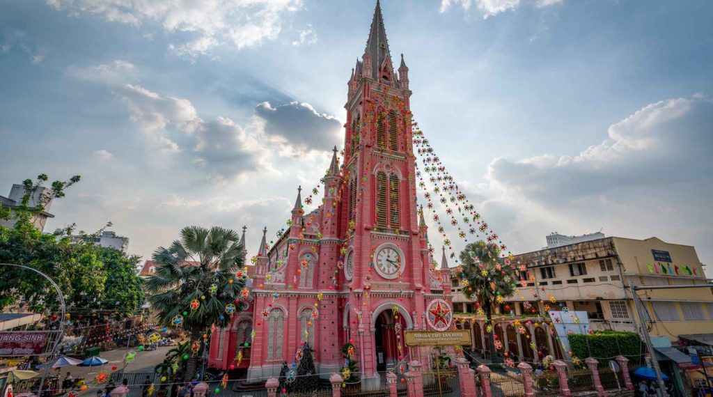 roze kerk in Ho Chi Minh City