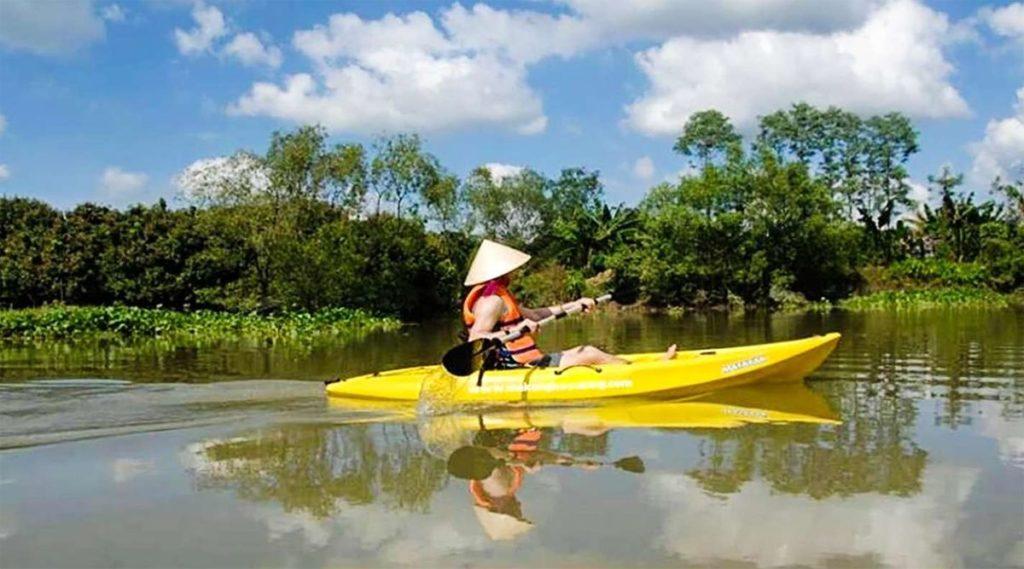 kajakkeen in de Mekong Delta