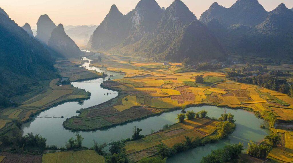 Phong Nam vallei in Cao Bang